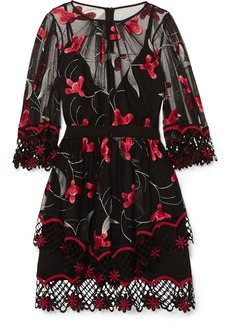 Alice McCall Wish You Were Here Guipure Lace-trimmed Embroidered Tulle Mini Dress