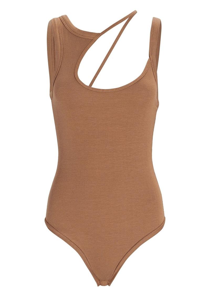 Allen Asymmetrical Rib Knit Bodysuit