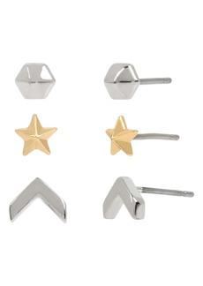 ALLSAINTS 3-Pack Star Stud Earrings
