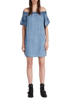 ALLSAINTS Adela Off the Shoulder Chambray Dress