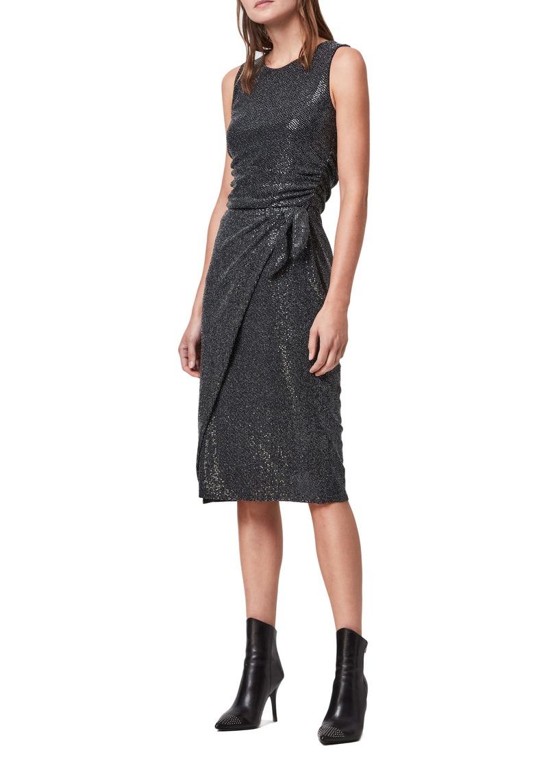 ALLSAINTS Allegra Shimmer Wrap Front Sleeveless Sheath Dress