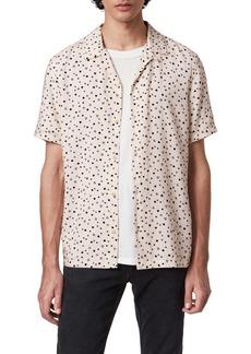 ALLSAINTS Amore Heart Print Short Sleeve Button-Up Camp Shirt
