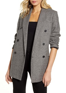 ALLSAINTS Astrid Puppytooth Check Double Breasted Wool Blend Blazer
