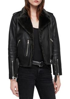 ALLSAINTS Balfern Lux Leather Biker Jacket with Faux Fur Trim