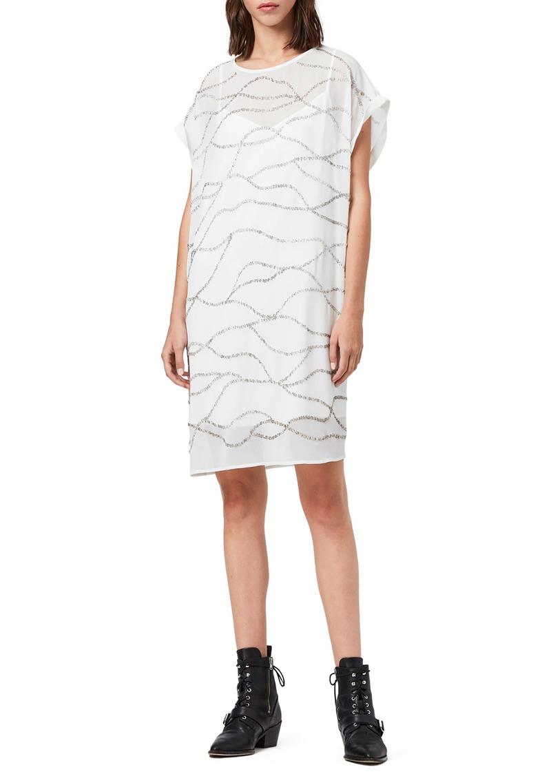 ALLSAINTS Beaded Squiggle Detail Shift Dress