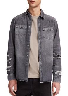 ALLSAINTS Beegan Distressed Denim Shirt Jacket