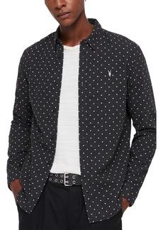 ALLSAINTS Bethel Slim Fit Dot Flannel Shirt