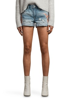 ALLSAINTS Birds Pam Embroidered Denim Shorts (Indigo Blue)