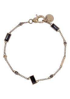 ALLSAINTS Black Cubic Zirconia Baguette & Bezel Set Chain Link Bracelet