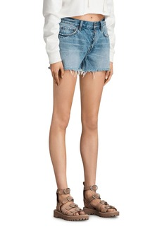 ALLSAINTS Button Denim Boy Shorts in Mid Indigo