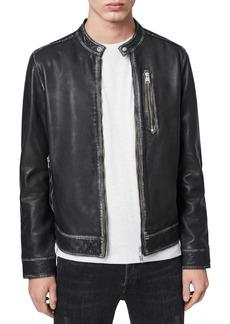 ALLSAINTS Cable Regular Fit Leather Moto Jacket