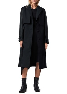 ALLSAINTS Cade Leather Sleeve Trench Coat