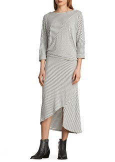 ALLSAINTS Cadie Stripe Midi Dress