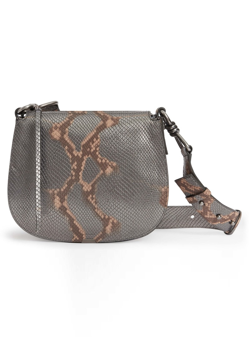 ALLSAINTS Captain Round Snakeskin Embossed Leather Crossbody Bag (Nordstrom Exclusive)