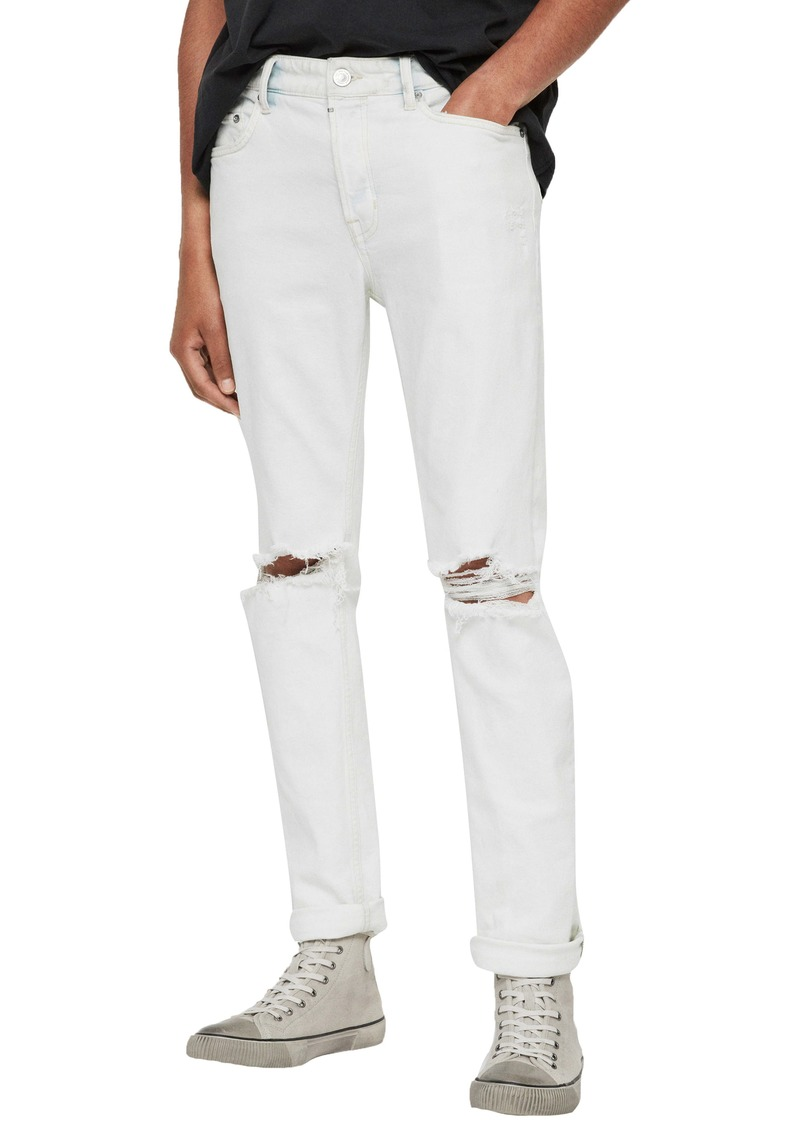 ALLSAINTS Rex Damaged Skinny Fit Jeans (Bleached Indigo Blue)