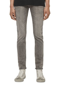 ALLSAINTS Cigarette Damaged Skinny Fit Jeans in Grey