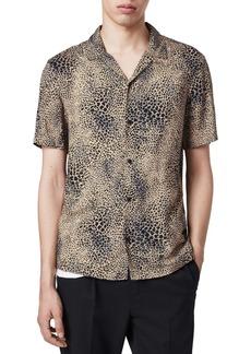 ALLSAINTS Diffusion Regular Fit Leopard Print Short Sleeve Button-Up Shirt