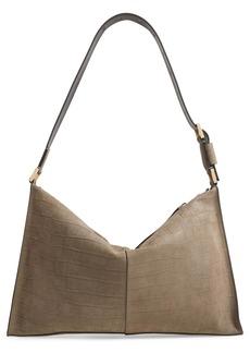 ALLSAINTS Edbury Croc Embossed Leather Shoulder Bag