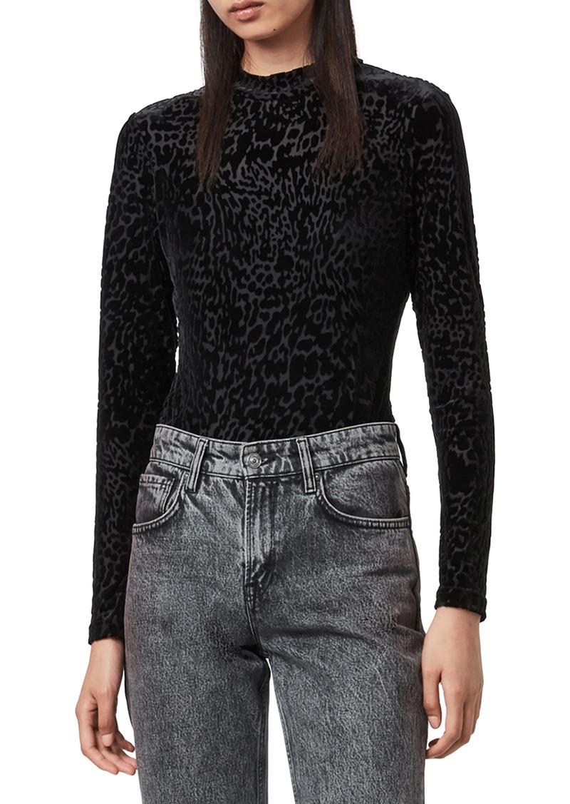 ALLSAINTS Elia Devoré Velvet Long Sleeve Bodysuit