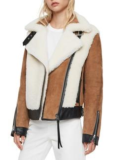 ALLSAINTS Elisa Genuine Shearling & Leather Coat