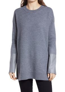 ALLSAINTS Essy Leather Cuff Wool Sweater