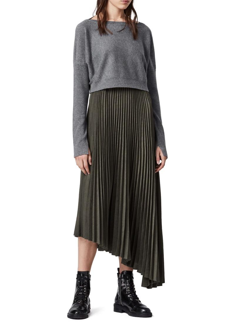 ALLSAINTS Evetta Asymmetrical Midi Dress with Crop Sweater