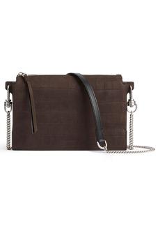 ALLSAINTS Fletcher Croc Embossed Leather Crossbody Bag