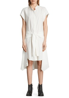 ALLSAINTS Georgia Tie Waist Shirtdress
