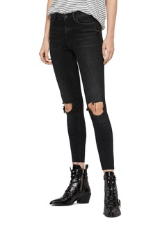 ALLSAINTS Grace Distressed Ankle Fray Skinny Jeans in Washed Black