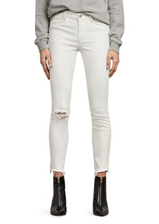 ALLSAINTS Grace Distressed Ankle Skinny Jeans in Chalk White