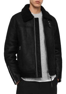 ALLSAINTS Gunstor Shearling-Collar Leather Jacket