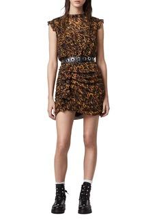 ALLSAINTS Hali Ambient Leopard Print Ruffle Minidress
