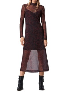 AllSaints Hanna Stanza Mesh Long Sleeve Midi Dress