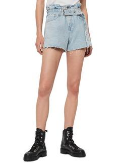 ALLSAINTS Hannah Paperbag Waist Denim Shorts (Light Snow)