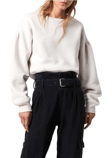 ALLSAINTS Imitation Pearl Blouson Sleeve Cotton Blend Sweatshirt