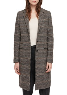 ALLSAINTS Indra Wool & Cotton Blend Check Coat