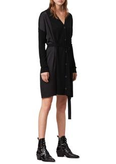 ALLSAINTS Iva Long Sleeve Button-Up Mixed Media Dress