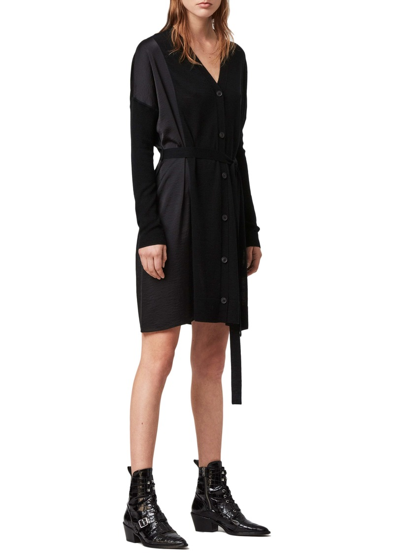 ALLSAINTS Iva Long Sleeve Button-Up Mixed Media Dress