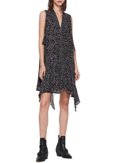 ALLSAINTS Jayda Waterleo Exposed Zip Sleeveless Silk Dress