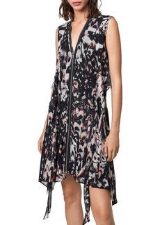 ALLSAINTS Jayda Wing Zip-Front Dress