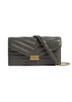 ALLSAINTS Justine Quilted Leather Wallet on a Chain