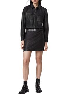 ALLSAINTS Kadi Long Sleeve Leather Shirtdress