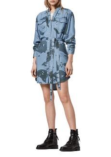 ALLSAINTS Kat Camo Long Sleeve Denim Mini Shirtdress