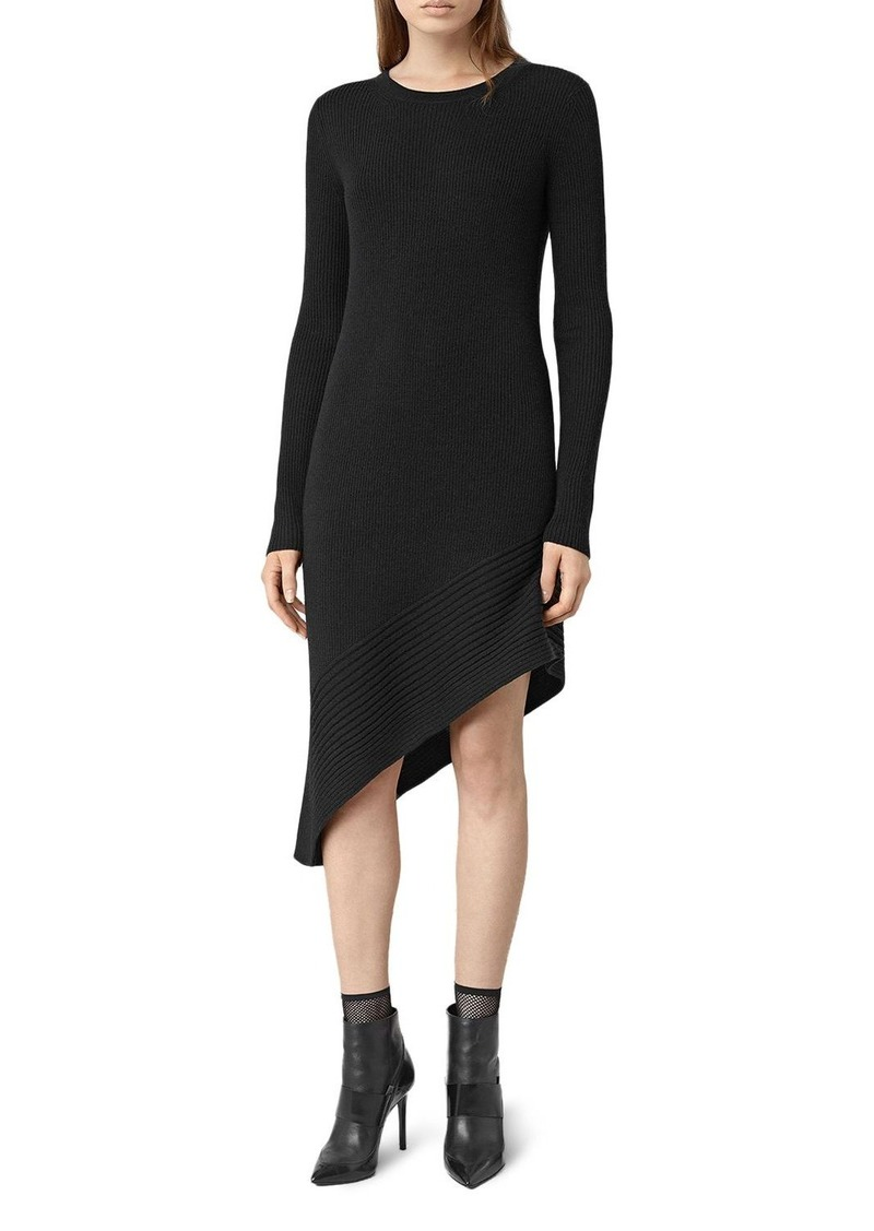 ALLSAINTS Keld Asymmetric Ribbed Sweater Dress