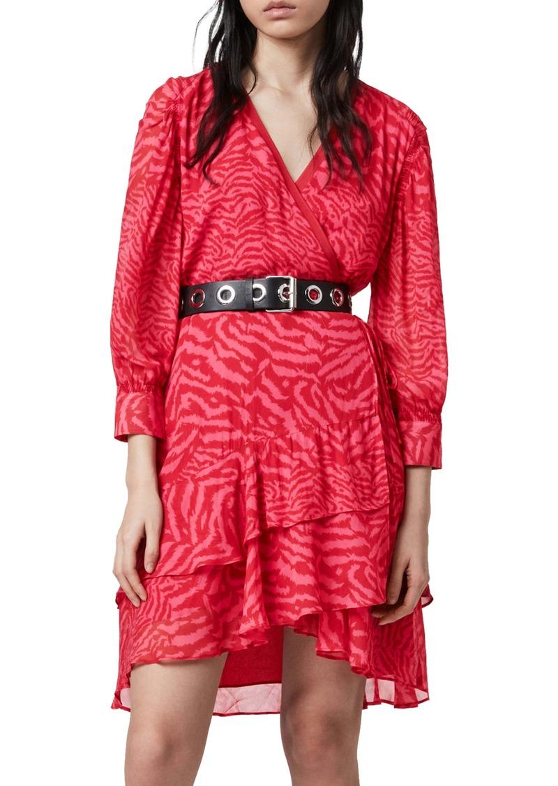 ALLSAINTS Keva Remix Ruffle Wrap Dress
