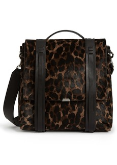 ALLSAINTS Kim Leopard Print Genuine Calf Hair Backpack