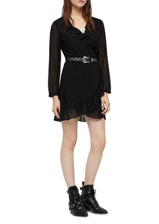 ALLSAINTS Kiyah Shimmer Studded Wrap Dress