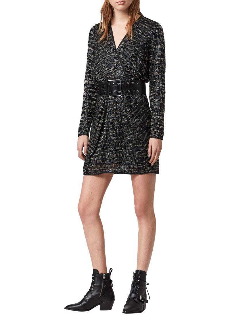 ALLSAINTS Laney Embellished Long Sleeve Dress