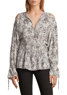 ALLSAINTS Lavete Paisley Cold Shoulder Top
