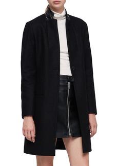 ALLSAINTS Leni Stud Trim Leather Collar Coat
